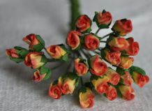 4mm RED YELLOW ROSE BUDS Mulberry Paper Flowers